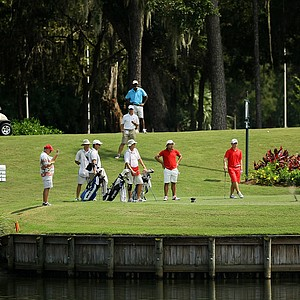 Robby Shelton IV hits his tee shot into the water at No. 17 during the final round of the TPC Junior Players at TPC Sawgrass The Players Stadium. Shelton went on to win by a shot.
