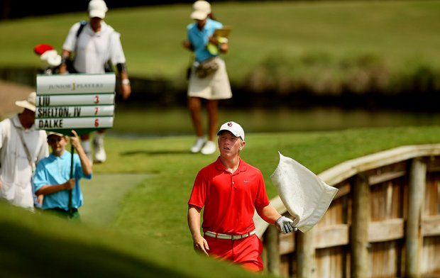 Brad Dalke walks off No. 18 tee box during the final round of the TPC Junior Players at TPC Sawgrass The Players Stadium. Dalke lost to Robby Shelton by a stroke.