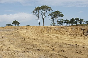 Standing in the new greenside bunker at 6th hole you get the feel of the depth of the bunker versus the green which in on the flat above.