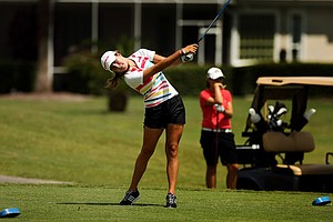 Jaye Marie Green hits a tee shot on the Champions course during the first day of LPGA Qualifying School at LPGA International.