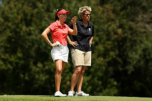 Margarita Ramos with her caddie Robyn Rossi at No. 14 during the first day of LPGA Qualifying School at LPGA International.