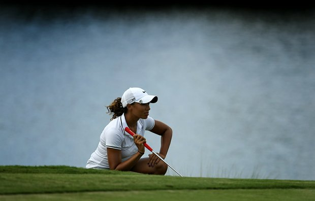 Cheyenne Woods lines up a shot at No. 13 on Champions course during the first day of LPGA Qualifying School at LPGA International.