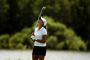 Cheyenne Woods reacts to a shot at No. 16 on the Champions course during the first day of LPGA Qualifying School at LPGA International. She posted a 77.