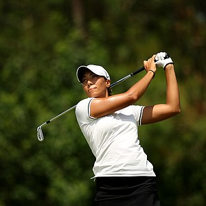 Cheyenne Woods watches a tee shot on the Champions course during the first day of LPGA Qualifying School at LPGA International.
