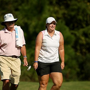 Catherine O'Donnell with her father Mike during the first day of LPGA Qualifying School at LPGA International. O'Donnell posted a 72.
