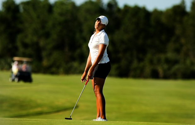 Cheyenne Woods reacts to missing her putt at No. 9 on the Champions course during the first day of LPGA Qualifying School at LPGA International. Woods posted a 77.
