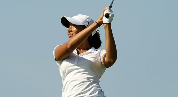 Cheyenne Woods hits a shot during the first stage of LPGA Q-School.