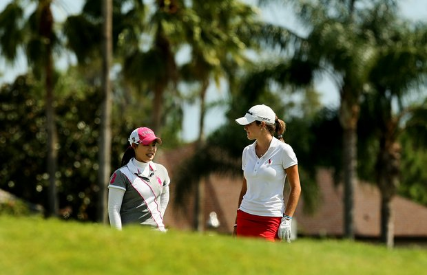 Moriya Jutanugarn, left,  and Jaye Marie Green during the final round of Stage 1 of LPGA Qualifying School.