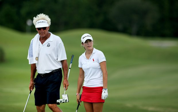 Jaye Marie Green with her father/caddie Donnie at Stage 1 of LPGA Qualifying School.