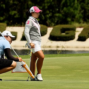 Moriya Jutanugarn with her sister/caddie Ariya, left, during Stage 1 of LPGA Qualifying School.