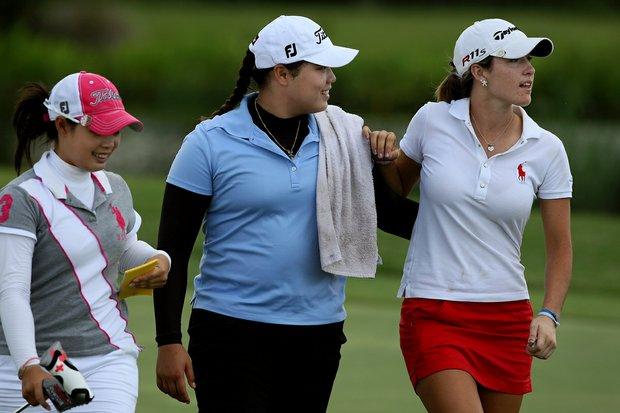 Moriya Jutanugarn, left, her sister, Ariya and Jaye Marie Green, the top three women amateurs on the Golfweek/amateur.com rankings at the final of Stage 1 of LPGA Qschool.
