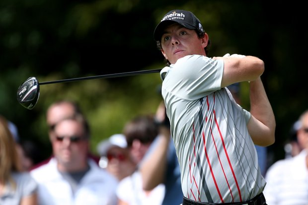 Rory McIlroy watches his tee shot on the second hole during the final round of the BMW Championship at Crooked Stick Golf Club.