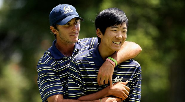 Max Homa, left, and Michael Kim of Cal