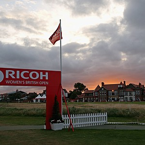 A general view of the welcome entrance and the clubhouse at sunrise before the start of the first round of the Ricoh Women's British Open at Royal Liverpool Golf Club.