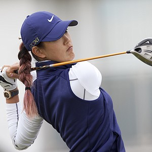 Michelle Wie hits driver during the first round of the Ricoh Women's British Open.