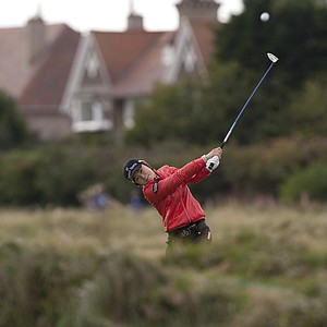South Korea's Eun Hee Ji plays to the green on the 18th hole during the first round of the Women's British Open golf championships at Royal Liverpool Golf Club.