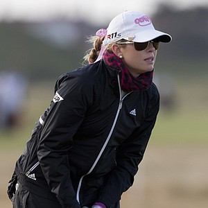 Paula Creamer watches at shot at Royal Liverpool's 13th.