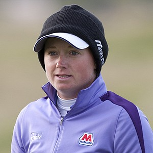 Stacy Lewis approaches her shot on the 12th green at Royal Liverpool.