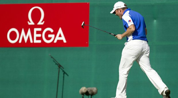 "Richie Ramsay reacts to a putt during the Omega European Masters. Omega is now designated as an ""official patron"" of the PGA."