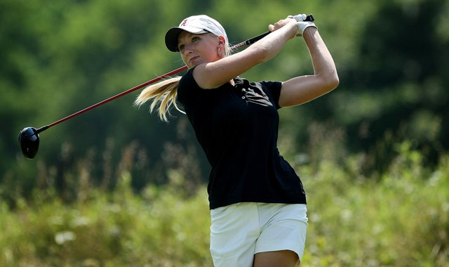 Alabama&#39;s Brooke Pancake hits a shot a the 2012 NCAA Division I Women&#39;s Golf Championships. 