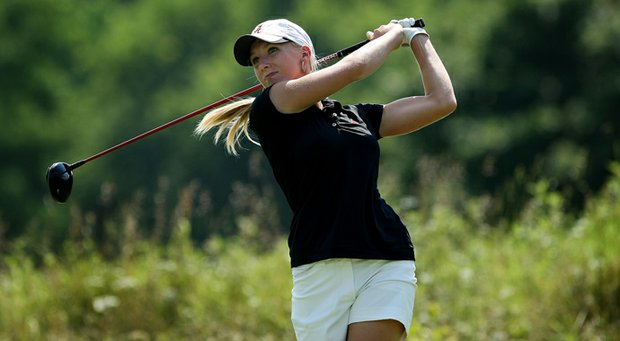 Alabama's Brooke Pancake hits a shot a the 2012 NCAA Division I Women's Golf Championships.