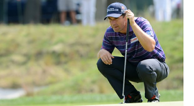 Padraig Harrington reads a putt during The Barclays at Bethpage State Park in Farmingdale, N.Y.