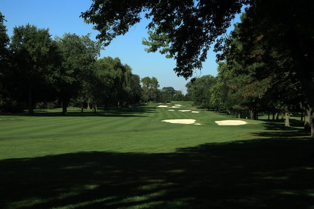 The 578 yards par 5, 10th hole on the No 3 Course venue for the 2012 Ryder Cup at Medinah Country Club on September 17, 2011 in Medinah, Illinois.