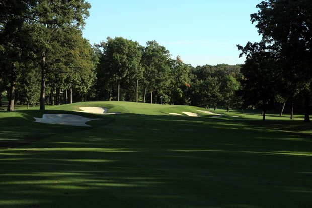 The 617 yards par 5, 7th hole on the No 3 Course venue for the 2012 Ryder Cup at Medinah Country Club on September 17, 2011 in Medinah, Illinois.