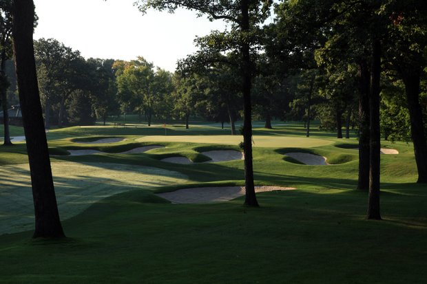 The 609 yards par 4, 14th hole on the No 3 Course venue for the 2012 Ryder Cup at Medinah Country Club on September 17, 2011 in Medinah, Illinois.