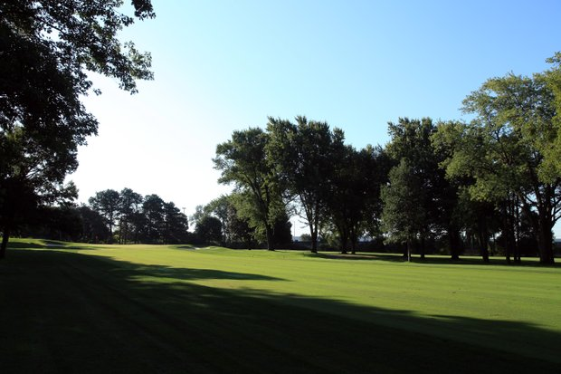 The 432 yards par 4, 9th hole on the No 3 Course venue for the 2012 Ryder Cup at Medinah Country Club on September 17, 2011 in Medinah, Illinois.
