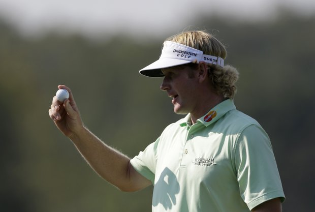 Brandt Snedeker sinks his putt on the 16th hole during the third round of the Tour Championship golf tournament Saturday, Sept. 22, 2012, in Atlanta. (AP Photo/David Goldman)