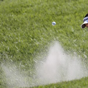 Isabelle Beisiegel of Canada hits from the sand on the eighth green during second round play in the Navistar LPGA Classic golf tournament, Friday, Sept. 21, 2012, at the Robert Trent Jones Golf Trail in Prattville, Ala. (AP Photo/Dave Martin)