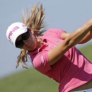 Azahara Munoz of Spain watches her drive from the first tee during second round play in the Navistar LPGA Classic golf tournament, Friday, Sept. 21, 2012, at the Robert Trent Jones Golf Trail in Prattville, Ala. (AP Photo/Dave Martin)