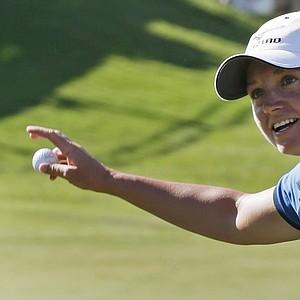 Stacy Lewis reacts after winning the Navistar LPGA Classic golf tournament, Sunday, Sept. 23, 2012, at the Robert Trent Jones Golf Trail in Prattville, Ala. (AP Photo/Dave Martin)