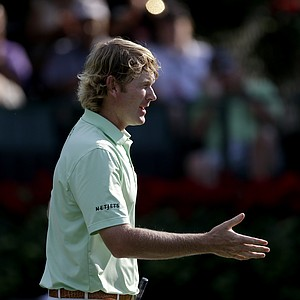 Brandt Snedeker finishes up his round on the 18th hole during the third round of the Tour Championship golf tournament Saturday, Sept. 22, 2012, in Atlanta. (AP Photo/David Goldman)