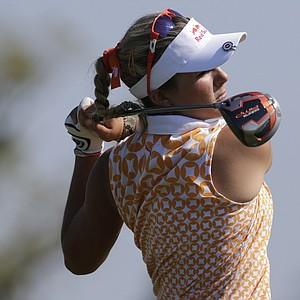 Lexi Thompson watches her drive from the 18th tee during second round play in the Navistar LPGA Classic golf tournament, Friday, Sept. 21, 2012, at the Robert Trent Jones Golf Trail in Prattville, Ala. (AP Photo/Dave Martin)