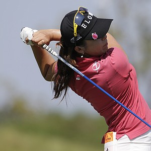 Mi Jung Hur of South Korea watches her drive from the 18th tee during second round play in the Navistar LPGA Classic golf tournament, Friday, Sept. 21, 2012, at the Robert Trent Jones Golf Trail in Prattville, Ala. (AP Photo/Dave Martin)