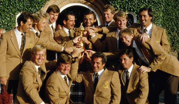 Tony Jacklin, Captain of Europe with team members Manuel Pinero, Ian Woosnam, Paul Way, Severiano Ballesteros, Sandy Lyle, Bernhard Langer, Sam Torrance, Howard Clark, Jose Rivero, Nick Faldo, Jose Maria Canizares and Ken Brown celebrate winning the 26th Ryder Cup at the Brabazon Course of The Belfry in Wishaw, Warwickshire, England.