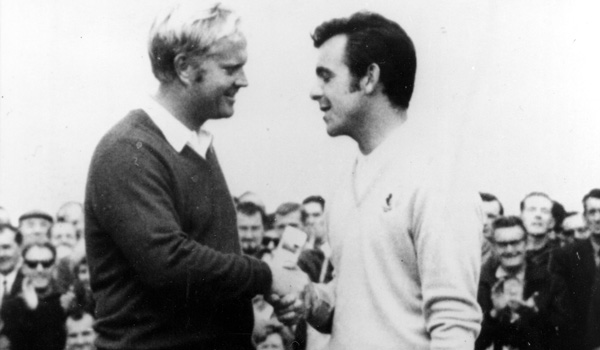Jack Nicklaus and Tony Jacklin at the 1969 Ryder Cup.