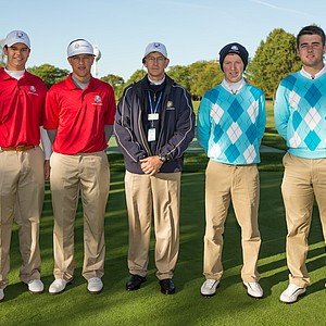 Referee David Young poses with Beau Hossler and Cameron Champ of the United States Team, Gavin Moynihan and Toby Tree of the European Team during the morning foursomes for the 8th Junior Ryder Cup at Olympia Fields Country Club on September 24, 2012 in Olympia Fields, Illinois.