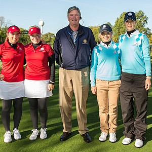 Referee Cary Collins poses with Casie Cathrea and Samantha Wagner of the United States Team, Bronte Law and Quirine Eijkenboom of the European Team during the morning foursomes for the 8th Junior Ryder Cup at Olympia Fields Country Club on September 24, 2012 in Olympia Fields, Illinois.