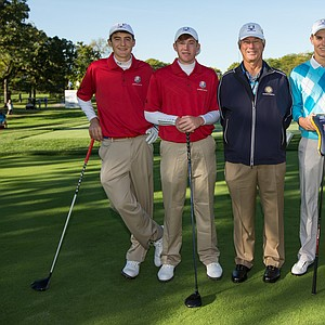 Referee Jim Deaton poses with Scottie Scheffler and Robby Shelton IV of the United States Team, Matthias Schwab and Dominic Foos of the European Team during the morning foursomes for the 8th Junior Ryder Cup at Olympia Fields Country Club on September 24, 2012 in Olympia Fields, Illinois.