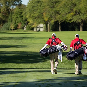 Players walking down the first fairway during the morning foursomes for the 8th Junior Ryder Cup at Olympia Fields Country Club on September 24, 2012 in Olympia Fields, Illinois.