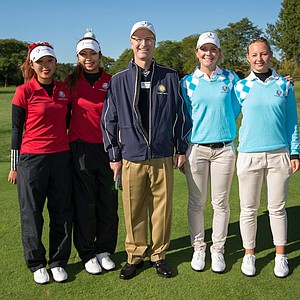Referee David McAtee poses with Esther Lee and Alison Lee of the United States Team, Linnea Stršm and Emily Pedersen of the European Team during the morning foursomes for the 8th Junior Ryder Cup at Olympia Fields Country Club on September 24, 2012 in Olympia Fields, Illinois.