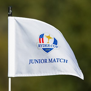 The official flag stick for the 8th Junior Ryder Cup at Olympia Fields Country Club on September 24, 2012 in Olympia Fields, Illinois.