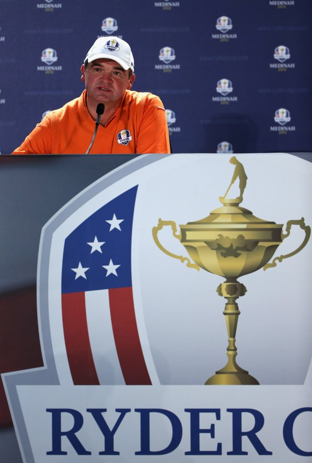Paul Lawrie of Europe addresses the media duirng his press conference during the 39th Ryder Cup at Medinah Country Golf Club.