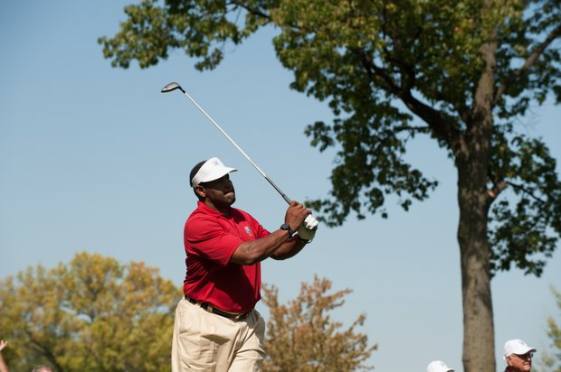 Former Chicago Bears football player Richard Dent tees off during the Past Captains/Celebrity Scramble at Medinah Country Club on Spetember 25, 2012 in Medinah, IL.