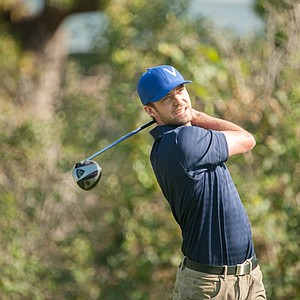 Ryder Cup Ambassador Justin Timberlake hit a shot during the Past Captains/Celebrity Scramble at Medinah Country Club.