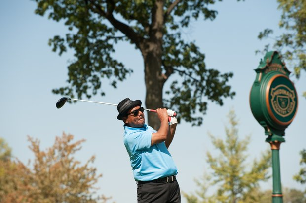 Actor/Comedian George Lopez tees off during the Past Captains/Celebrity Scramble. The event is for the 39th Ryder Cup.