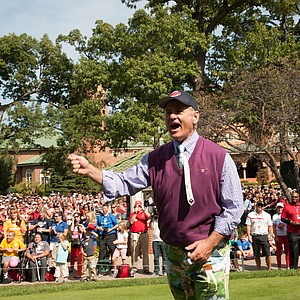 Bill Murray cheers with the crowd during the Past Captains/Celebrity Scramble at Medinah Country Club on Spetember 25.